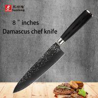 Wholesale japanese damascus kitchen knives - 8 inch chef knife 67 layers Japanese Damascus steel kitchen knife senior meat vegetable knife wood handle free shipping