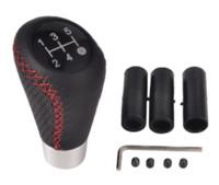 schwarzer roter schaltknauf großhandel-5 Geschwindigkeit BlackRed Line Leder Aluminium Manuelle Auto Schaltknauf Schalthebel