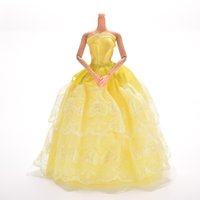 Wholesale lace baby doll dress - Princess Dress Gown Yellow Dress For Barbie Doll Dress Girl Pretend Play Baby Girl Toy Gift Doll Accessories