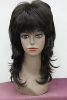 парики коричневые волнистые средней длины оптовых-2018 новая мода темно-коричневый синтетические волосы слоистых волнистые средней длины парик