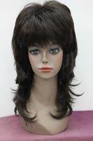 perucas castanhas onduladas do comprimento médio venda por atacado-2018 nova moda Dark Brown cabelo Sintético Em camadas onduladas peruca de comprimento Médio