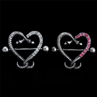 sexy nippel schmuck großhandel-1 Doppel Schlangenkopf Nippel Piercing Sexy Serpentine Weiß Rosa Herzförmige Nippel Ringe Körperschmuck Frauen Bar Barbell Piercing