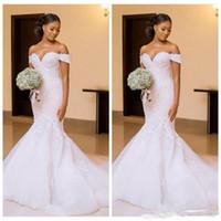 hermosos vestidos de adelgazamiento al por mayor-Negro africano 2018 sirena vestidos de novia vestidos de novia fuera del hombro apliques de encaje hermosos vestidos hermosos