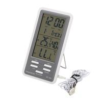 fio digital venda por atacado-LCD Digital Indoor Outdoor Termômetro Higrômetro Relógio Calendário de Alta Precisão Medidor de Umidade de Temperatura Com Sensor Externo Com Fio DC802