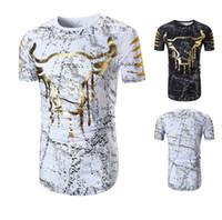 Wholesale cow neck shirt - Camping Hiking T-Shirts Summer Men T Shirts Funny Cow Short Sleeve T-shirt O Neck Casual Print Tshirt Tee Shirt Homme