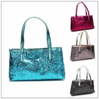 Wholesale glitter shopping bags online - 4 Colors Girls Mermaid Sequin Totes Bling Glitter Sequins Cosmetics Bags Shopping Casual Spangled Handbags Women Fashion Bags CCA8849