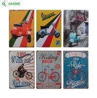 motosiklet kalay metal toptan satış-AIHOME Vintage Ev Dekorasyonu MOTOSİKLES RIDING Vintage Teneke Işaretleri Retro Sanat Metal Plaka Boyama Duvar Ev Dekorasyon
