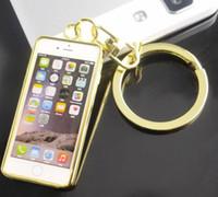 corrente do ouro do iphone venda por atacado-Moda simulação iphone keychain em forma de pingente de ouro chaveiro anel