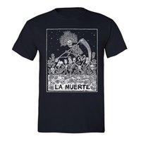 siyah şeker toptan satış-Ölü Gömlek Şeker Kafatası Günü Meksika Çiçek Dia Los Muertos Tshirt Siyah Baskılı Erkekler T-Shirt Kısa Kollu Komik Tee Gömlek