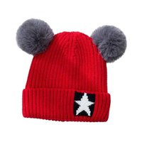 37a0148a67d Child Baby Hat Winter Boys Warm Beanies Hats With Pompom Girls Star  Jacquard Knit Ribbed Cap cotton Inner Layer Skullies M7106
