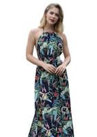 59bdb299a5c Fashion Floral Print Halter Chiffon Long Dress New 2018 Women Backless  Summer Maxi Dresses Sexy Split Beach sundress