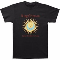 Wholesale tongue machine - Slim Short Sleeve Printing Machine O-Neck Mens King Crimson Men's Larks' Tongues In Aspic Black T-shirt Size S To 3XL T Shirts