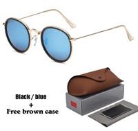Wholesale sunglasses retail packaging online - Luxury brand Round Sunglasses Women men Metal Frames Mirror UV400 Lenses female Sun Glasses retro Male oculos de sol with Retail package