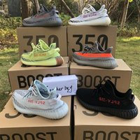 Wholesale Light Blue Color - Boost 350 V2 B37572 Semi Frozen Yellow B37572 Blue Tint Grey AH2203 Beluga 2.0 Grey Bold new color kanye west running shoes