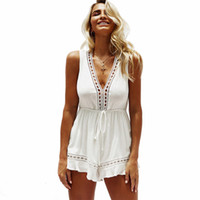 e0566ee81ee1 Sexy Women Jumpsuit Rompers Summer Beach Casual Mini Shorts Boho Playsuit  Deep V neck Sleeveless Summer Bodysuits White. 49% Off