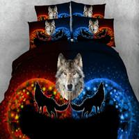 ensembles de couette animaux achat en gros de-3D Literie Ensemble Cheval Loup Éléphant Chien Humain Imprimé Literie Animal Imprimé Draps Housse De Couette