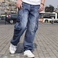 herren beiläufige baggy jeans großhandel-Mens Cargo Jeans Hosen Multi Pocket Hip Hop Designer Baggy Jeans Herren Lose Fit Casual Hosen Baumwolle Größe 44 46 Kleidung