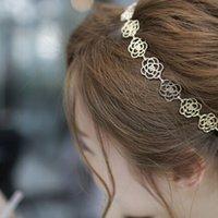 metal gül kafa bandı toptan satış-1 ADET Kızlar Bayan Moda Metal Zincir Takı Hollow Gül Çiçek Elastik Kafa Saç Bandı Aksesuarları
