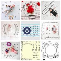 bebeğim yeni doğan fotoğraflar toptan satış-100 * 100 cm Yenidoğan Fotoğraf Dikmeler Battaniye Mektuplar Numaraları Baskılı Battaniye Bebek Erkek Kız Bebek Fotoğraf Sahne Aksesuarları OOA4963