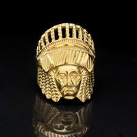 indischen chefringe großhandel-Herren Hip Hop Gold Ringe Schmuck Retro Indian Chief Punk Ring Vintage übertrieben Legierung Metall Ring