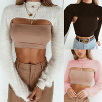 болеро одежда оптовых-Women Fitted Plush Long Sleeve Jumper Shrug Cropped Top Casual Bolero Ladies Clothes Sweater Tops