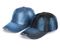 Wholesale washed denim caps - Unisex Denim Baseball Cap Blank Washed Low Profile Jean Hat Casquette Adjustable Snapback Hats Caps For Men And Women Parent-child Cap