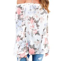 Wholesale Tunic Tops Ruffles - Long Flare Sleeve Womens Floral Blouse 2018 Summer Off Shoulder Ladies Boho Tops Female Tunics Causal Ruffle Tee Shirts Femme S-3XL