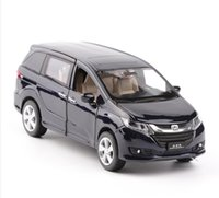 Wholesale car model honda - Free shipping 1:32 scale alloy pull back car model Honda Odyssey car diecast metal toy vehicles musical&flashing 6 open doors suv