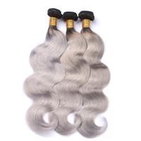 siyah vücut dalgası saç tokası toptan satış-Brezilyalı Vücut Dalga Demetleri Bakire Gümüş Gri Saç Örgü Ombre Gri Saç Siyah Kadınlar Için% 100% İnsan Virgin Saç Atkı Örgüleri