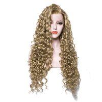 ingrosso parrucche ricci di qualità-Parrucche sintetiche in pizzo di alta qualità Bionda riccia Colore puro Riccia lunga marrone Riccia parrucca anteriore in pizzo sintetico