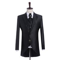 ingrosso vestito nero vestito lucido del girocollo-Immagine reale Groomsmen Shiny Nero Smoking dello sposo Notch Risvolto Uomini abiti Side Vent Wedding / Prom. Best Man Blazer (Jacket + Pants + Vest + Tie) K944