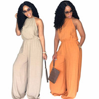 Wholesale plus size rompers online - Loose Jumpsuits for Women Fashion Halter Collar Strapless High Waist Solid Loose Harem Jumpsuit Women Plus Size Rompers Pants