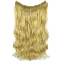 Wholesale 55cm hair resale online - TOPREETY Heat Resistant B5 Synthetic Fiber cm gr Body Wave Elasticity Wire Halo Hair Extensions Colors Available