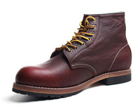 bottes à ailes rouges achat en gros de-Handmade Vintage lace up New Spring Genuine Leather Mens Platform Brown Ankle boots Red Breathable wing Work shoe
