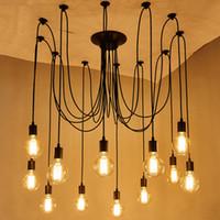 accesorios de iluminación usados al por mayor-Lámpara colgante de araña de estilo clásico de bricolaje Luces colgantes colgantes Lámparas Edison Bombilla para sala de estar accesorios de comedor