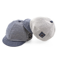 Wholesale Baby Boy Beret Hats - Summer Cotton Comfortable Infant Hats Cute Casual Striped Soft Eaves Baseball Cap Baby Boy Beret Baby Girls Sun Hat