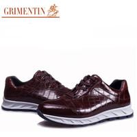 italian casual fashion for men 2018 - GRIMENTIN 2016 Italian fashion crocodile casual shoes genuine leather soft mens shoes flats for sport daily leisure