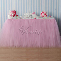 Wholesale skirt for table - 100cm X 80cm Light Pink Tulle Tutu Table Skirts Tableware For Wedding Party Baby Shower Birthday Xmas Reception Table Decor