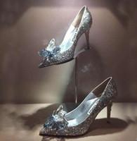 ingrosso donne di nome degli alti talloni di marca del nome-scarpe da sposa di cristallo di trasporto libero di modo con il diamante della sposa fiore tacco alto scarpe a punta scarpe da donna di marca 481