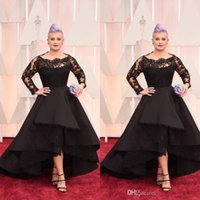 Wholesale low back high front evening dress for sale - Group buy Black Celebrity Evening Dresses Lace Long Sleeves Sheer Neck Tiered Scoop Satin High Low Party Dresses Short Front Long Back Red Carpet Gown