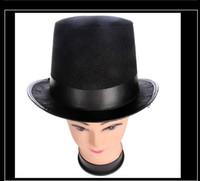 vestidos casuales de disfraces al por mayor-Retro clásico sombrero de copa negro sombrero mágico Abraham Lincoln sombreros fiesta de disfraces vestido de halloween accesorio alto sombrero de fieltro de jazz negro CALIENTE
