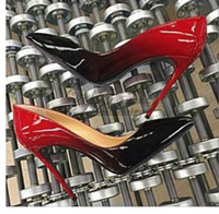 zwei kleid schuhe großhandel-heiße Mode Spitz High Heels Designer zwei Farben rote untere Schuhe Sexy flachen Mund Sohle hochhackigen Frauen Hochzeit Kleid Schuhe