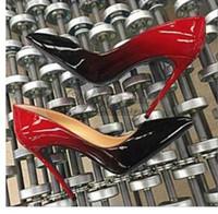 saltos de boca apontados venda por atacado-Moda quente Dedo Apontado Sapatos De Salto Alto Designer de Duas Cores Vermelho Sapatos Inferiores Sexy Sola Rasa Da Boca De Salto Alto Mulheres Vestido De Casamento Sapatos