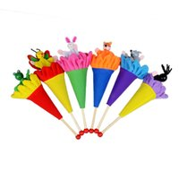 Wholesale wooden puppet doll - Cartoon Animals Pop Up Puppets Children Toys Multi Color New Creative Wooden Telescopic Stick Doll Toy 2 6sw W
