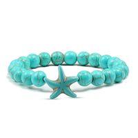 очаровательный браслет на звезду оптовых-Fashion Starfish Blue Green Turquoises Beaded Bangles Bracelets Beach Charm Jewelry Sea Star Natural Stone Bracelet Couple Gifts