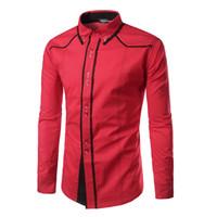 9d87a1176b Camisa de los hombres de la marca de gran tamaño de manga larga Camisas de  color de golpe casual Slim Fit negro para hombre camisas de vestir Xxl