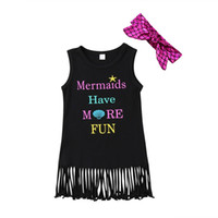 Wholesale baby beach outfits for sale - Group buy Summer Kids Baby Girls Sleeveless Princess Dress With Headband Letter Print Starfish Outfit Tassels Party Sundress Clothes Beach Wear Y