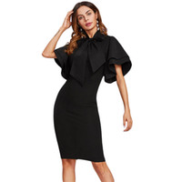 corbata negra vestidos cortos al por mayor-Sheinside Bow Tie Neck Layered Flare Sleeve Pencil Dress 2017 Negro Moda Stand Collar de manga corta vestido de fiesta elegante