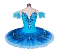 ingrosso gonne di uccelli-blue bird tutu variazione adulto ragazze balletto professionale tutù blu classica danza classica costume per donne pancake tutu gonna BT9027
