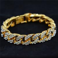 14k gold armband ketten großhandel-Uodesign 14mm Herren Armband für Frauen Hiphop Schmuck Iced Out Curb kubanische Kette Gelbgold gefüllt gepflasterte Strasssteine